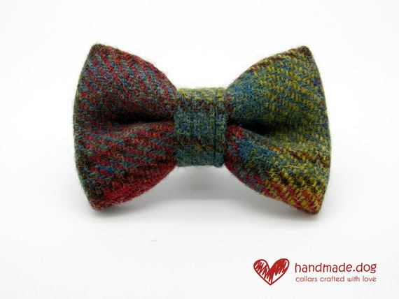 Handmade Dark Green and Yellow Check 'Harris Tweed' Dog Dickie Bow