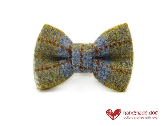 Mustard and Blue Check 'Harris Tweed' Dog Dickie Bow