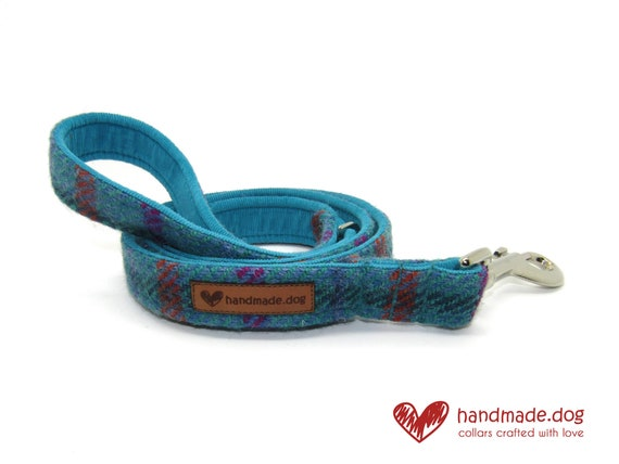 Handmade Turquoise Check 'Harris Tweed' Dog Lead