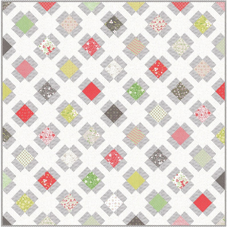 Garden Charm PDF Digital Quilt Pattern by Pieced Just Sew Charm Pack or Fat Quarter Friendly