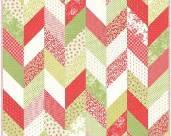 Scrappy Herringbone PDF Digital Quilt Pattern by Pieced Just Sew, Layer Cake Friendly