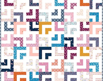 Log Jam PDF Digital Quilt Pattern by Pieced Just Sew, Jelly Roll or Fat Quarter Friendly