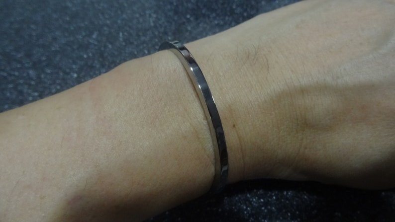 Small Size Handmade Polished Stainless Steel Cuff Bracelet Bangle for Women 57.2mm 1809-35