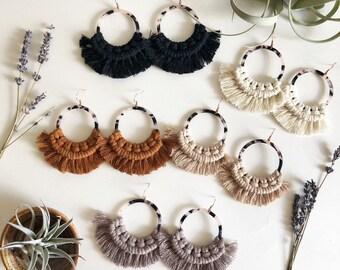 6194deb9826549 Large tortoise shell hoop earrings with macramé fringe/macramé earrings/fringe  earrings/hoop earrings/statement earrings