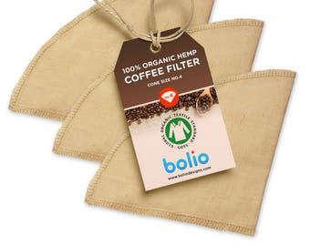 Bolio - Organic Hemp Cone Coffee Filters - Works on Chemex, Bodum and most types of pour-over coffee makers.