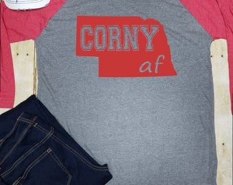 01cea875 Corn Nebraska Shirt, Long Sleeve, Corny AF, Raglan, Corn Shirt, Unisex Shirt,  Funny Corn SHirt, Corn Farmer, Corny Nebraska Shirt
