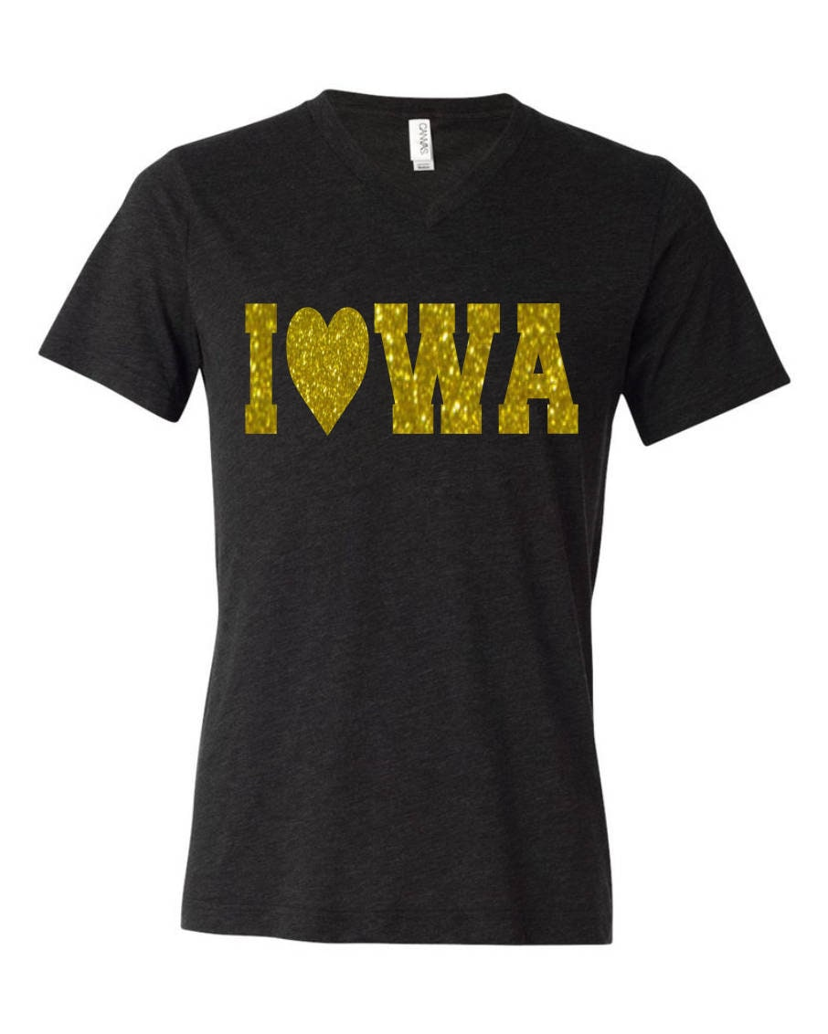 State of IOWA shirt Love Bling Yellow and Black | Etsy