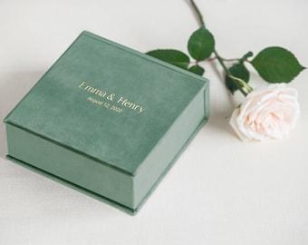 Wedding Ring Box Best Seller, Personalized Ring Box, Green Velvet Ring Bearer Box with Removable Ring Bearer Pillow