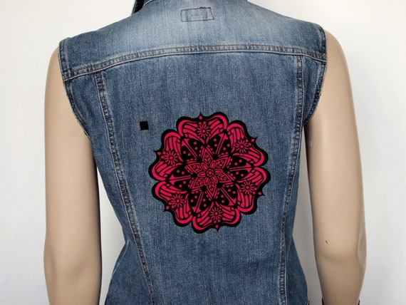 Damen Jeansweste Muster Jean Weste Upcycled Boho Jeansweste | Etsy