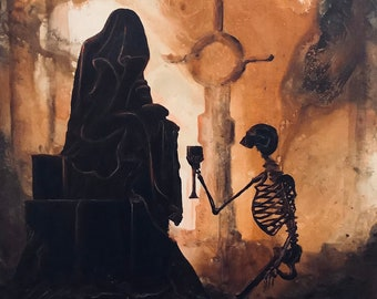Remember the Many Nights - Lustrous Art Print - Skeleton Holding Chalice before Shadowy Cloaked Woman