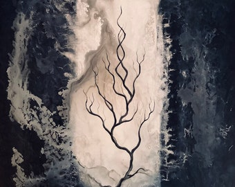 Seeking Inner Shadow - Original Canvas Painting - Lonely Tree Reaching for Dark Surreal Storm Clouds