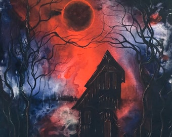 Eternal Eclipse - Lustrous Art Print - Haunted House under Full Blood Moon in Surreal Bayou