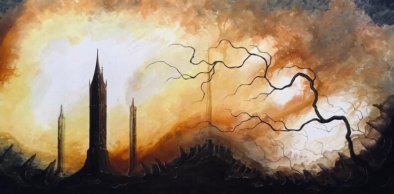 Sacrilege of Sundown  Huge Original Canvas Painting  Dark image 0