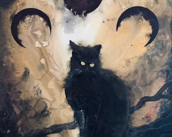 Listen to the Night - Original Canvas Painting - Curious Black Cat Perched on Tree Branch beneath Three Surreal Moons