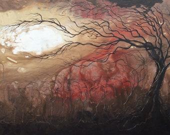 Seizing Heaven - Lustrous Art Print - Twisted Dark Trees Reaching Skyward