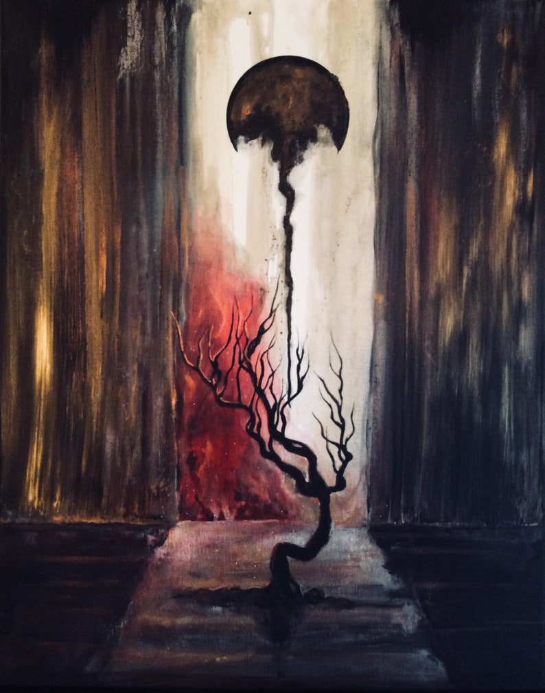 The Unheaven  Surreal Art Print  Lonely Tree in Water image 0