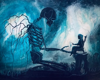 Stay Until Forever -  Lustrous Art Print - Skeletal Guardian Watching over Elderly Shadow Woman in Dark Forest (With Noir Print Option)