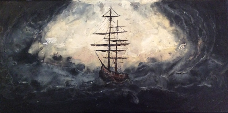 The Storm with No Name  Original Canvas Painting  Dark Ship image 0