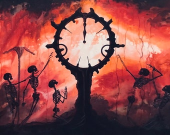 The End of Time - Original Canvas Painting - Skeletons Worshipping Vast Dark Otherworldly Clock