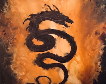 Coils of Catastrophe - Lustrous Art Print - Asian Dragon Soaring through Fiery Surreal Sky