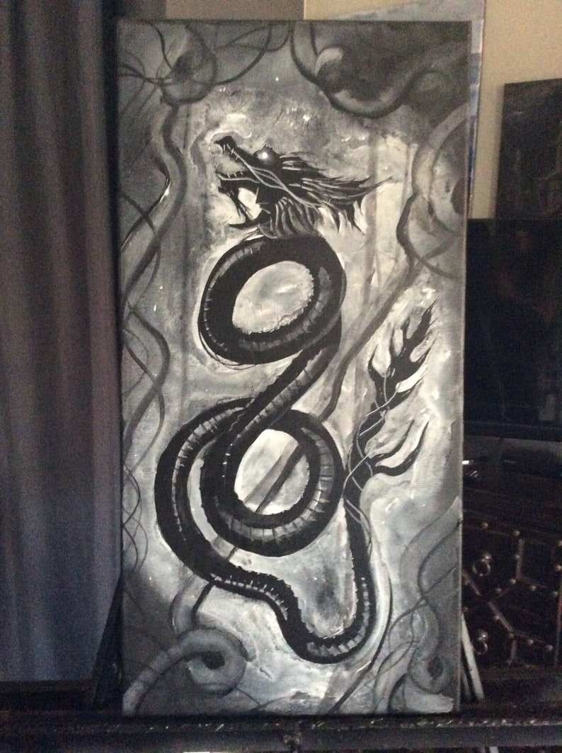 Ghost Dragon  Original Canvas Painting  Black and White image 0