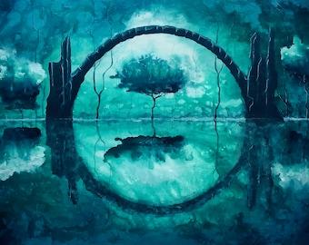 Mirror of Ourselves - Lustrous Art Print - Dark Bridge over Calm Water & Summer Trees