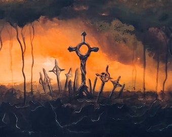 We Are Forgotten - Original Canvas Painting - Lonely Graves in Deep Umber Forest at Twilight