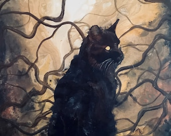 Dusk Dweller - Original Canvas Painting - Black Cat Sitting Peacefully in Dark Surreal Forest