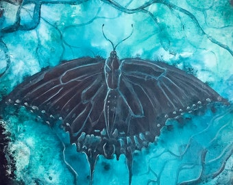 Luminous - Original Canvas Painting - Gossamer Winged Blue Butterfly in Surreal Blue Background
