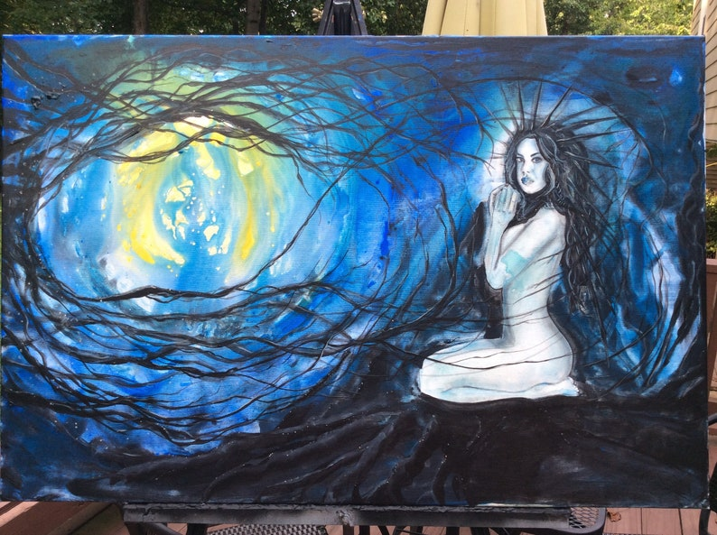 Lilith's Sanctuary  Original Canvas Art  Dark Nude Girl image 0