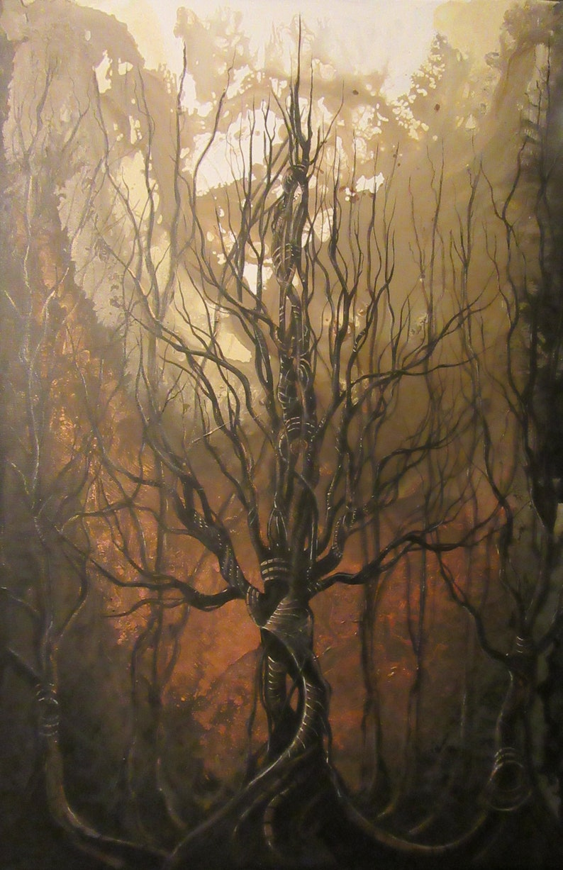 Eternity  Original Canvas Painting  Dark Autumn Tree with image 0