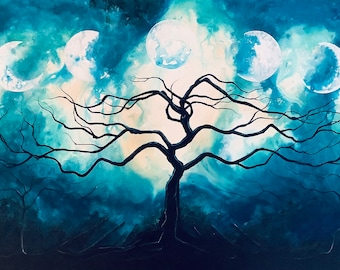 Serenity of Shadow - Luminous Art Print - Sacred Dark Tree Reaches for Seven Moon Phases