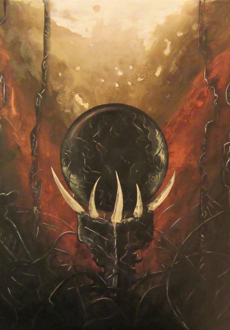 Orb of Souls  Original Canvas Painting  Dark Relic Sphere in image 0