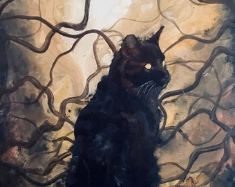 Dusk Dweller - Lustrous Art Print - Black Cat with Haunted Eyes Sitting Peacefully in Surreal Wilderness