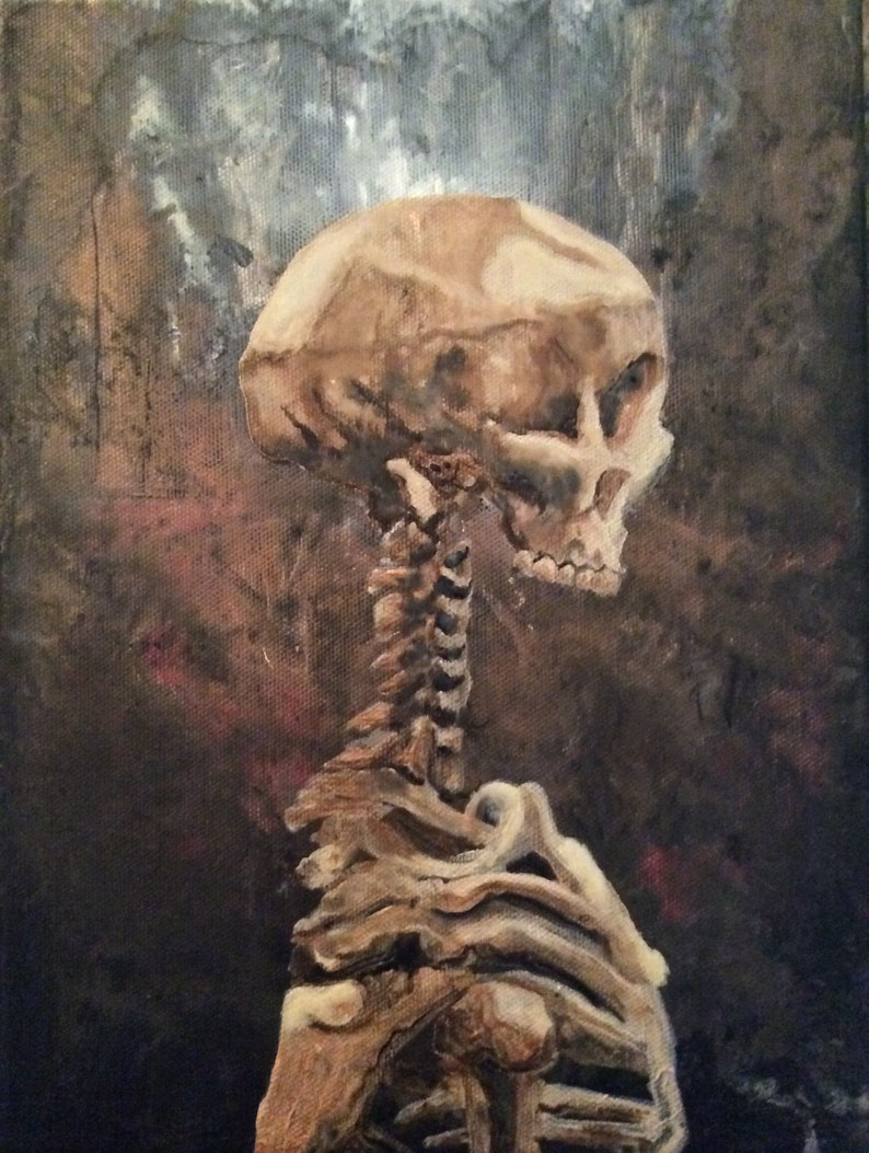 Alone  Dark Art Painting  Lonely Skeleton on Abstract image 0