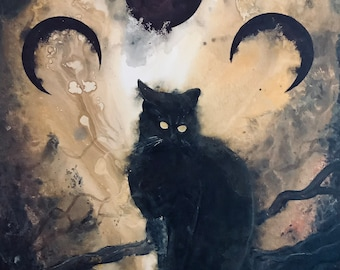 Listen to the Night - Lustrous Art Print - Curious Black Cat with Ears Back Under Three Surreal Moons