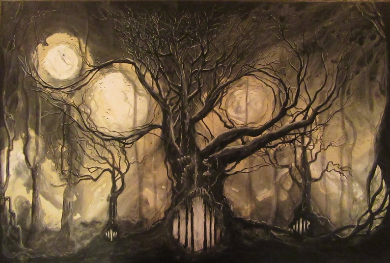 Join Me in Shadow  Original Canvas Painting  Wicked Trees in image 0