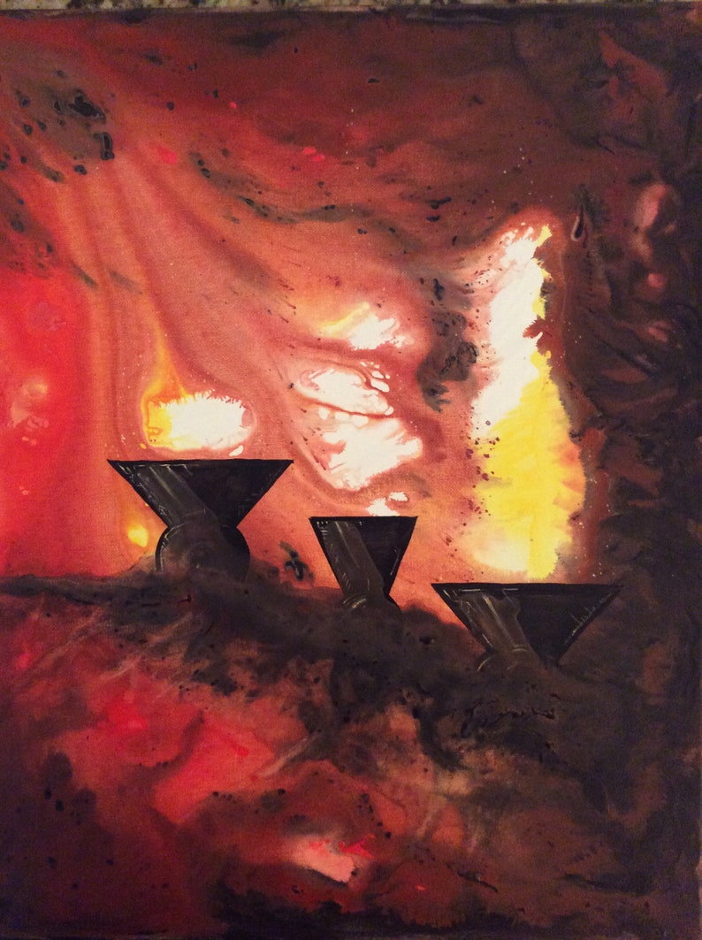 Chalices of the Void  Original Painting  Three Cups of Fire image 0