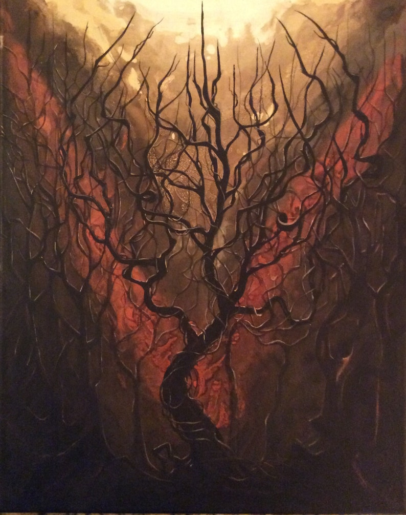 Consecration  Original Canvas Painting  Bronze Autumn Forest image 0
