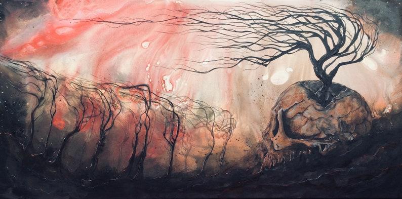 Recorruption  Dark Art Print  Twisted Dark Trees Reaching image 0