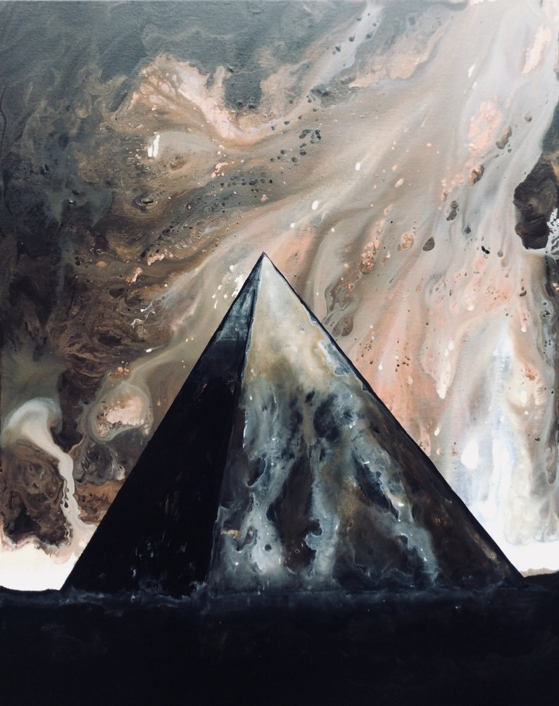Dark Edifice  Original Canvas Painting  Black Pyramid in image 0