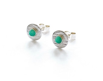 Silver Amazonite stud earrings