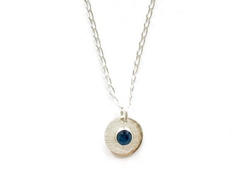 Small Sapphire silver necklace