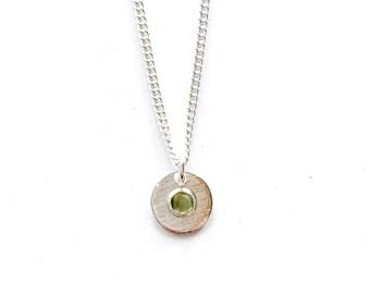 Peridot gemstone silver necklace