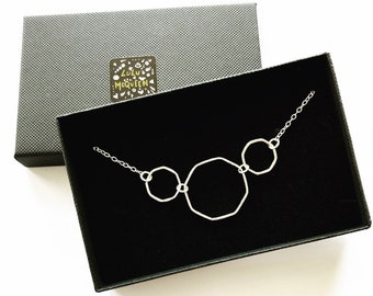 Octagonal sterling silver necklace