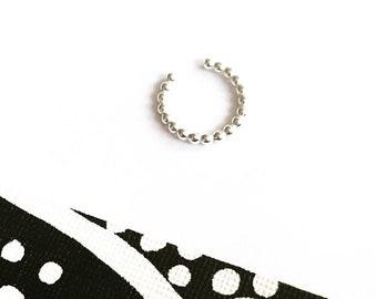 Dainty silver beaded ear cuff