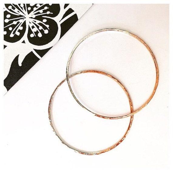 Stacking Bangles Hammered Silver Bangle,Bangle Set Bracelets 3 Bangle Set Silver /& Copper Bangle Hammered Copper Bangle Modern Bangle