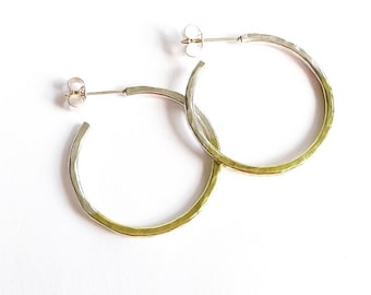 Small silver & brass hammered hoops