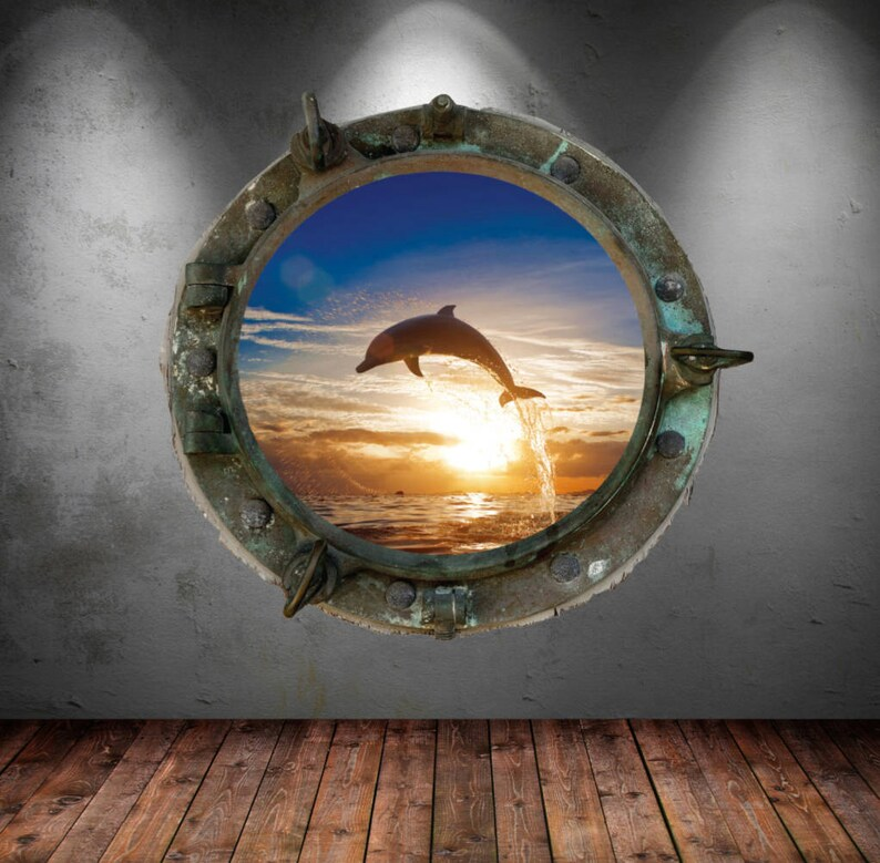 Porthole Wall Decal Full Color Dolphin Fish Sea Tropical Fish Sunset Wall  sticker Kids Bedroom Decal Mural Wall Art Stickers Dolphins MYS574