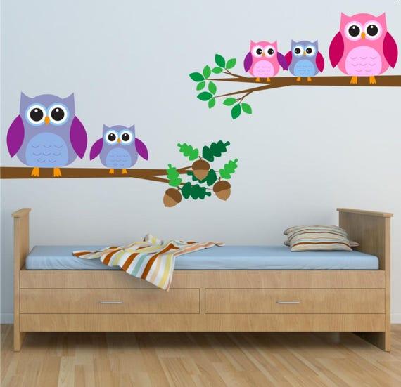 Owls Wall Decal Owls Birds Wall Art Sticker Decal Mural Transfer Children\'s  BedroomWall Stickers MYS217